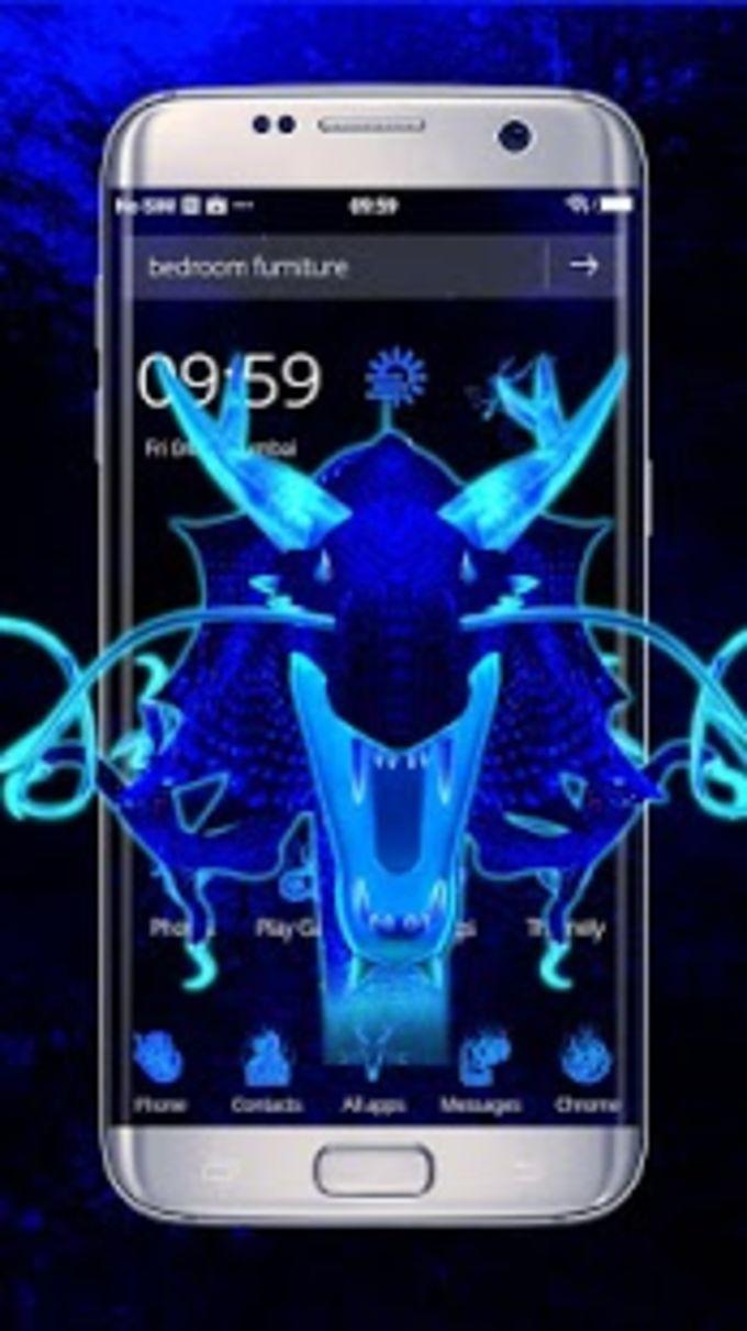 Neon Blue Dragon 3D