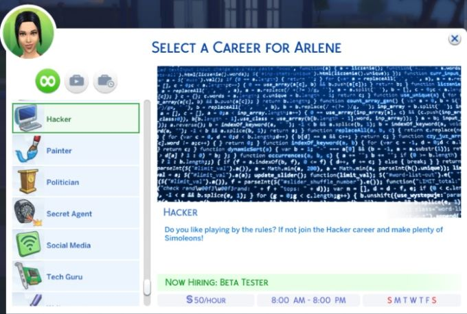 Hacker Career mod for The Sims 4
