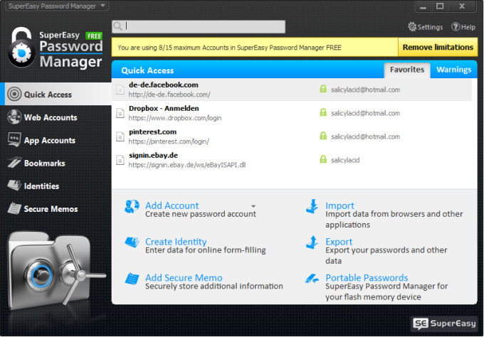 SuperEasy Password Manager Free