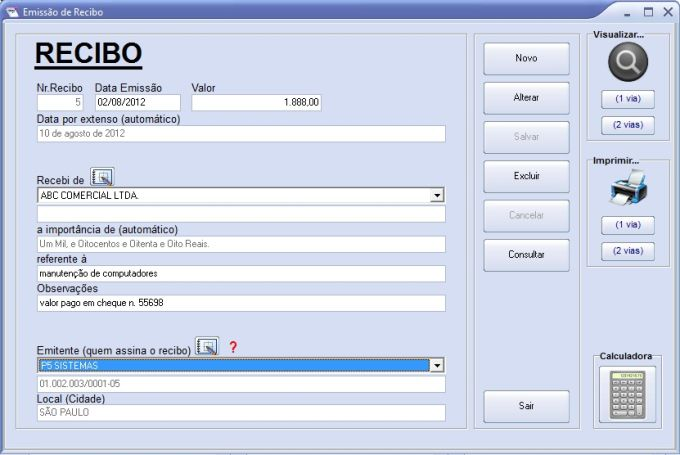 recibo grátis download