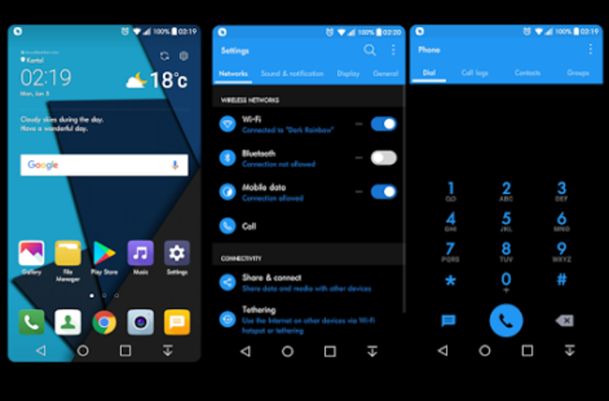 Dark Blue Theme For LG G6 - G5 - V20 - V10 - K10