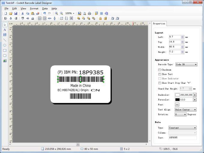 CodeX Barcode Label Maker