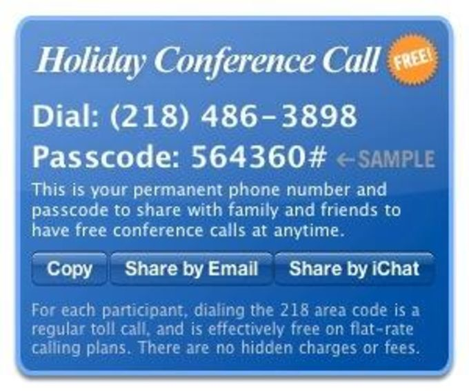 Holiday Conference Call widget