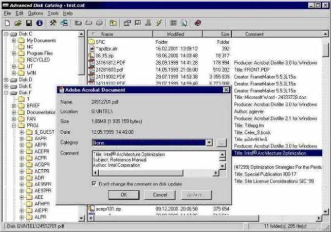 Advanced Disk Catalog