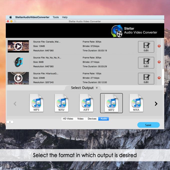 Stellar Audio Video Converter for Mac