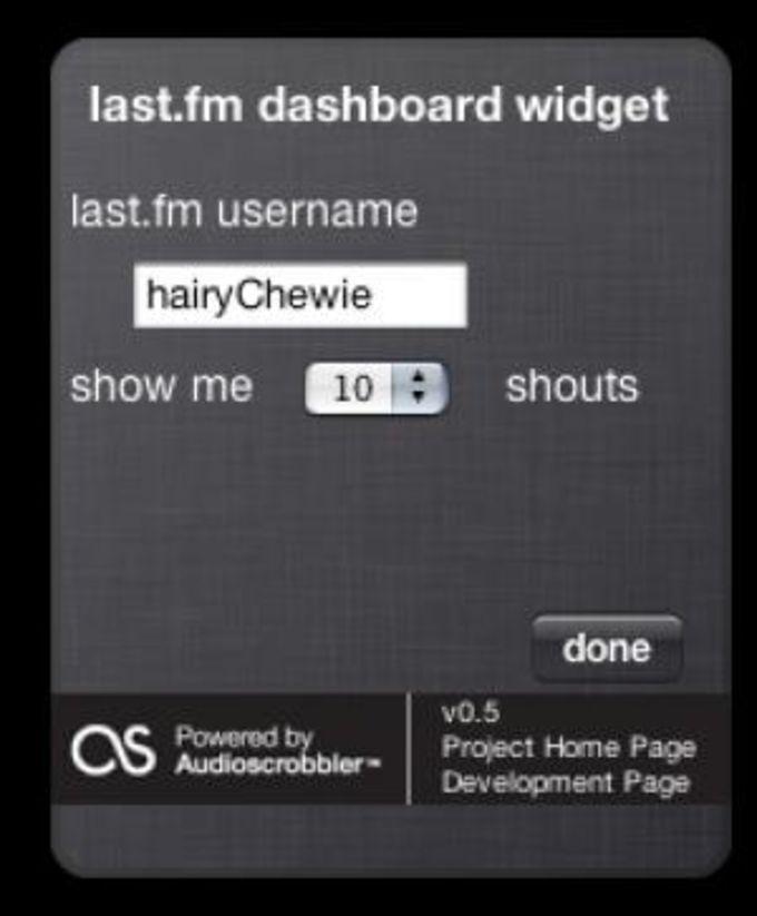 Last.fm Dashboard Widget