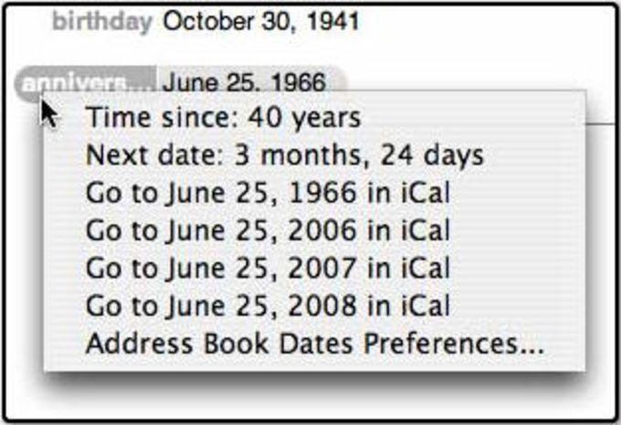 Address Book Dates