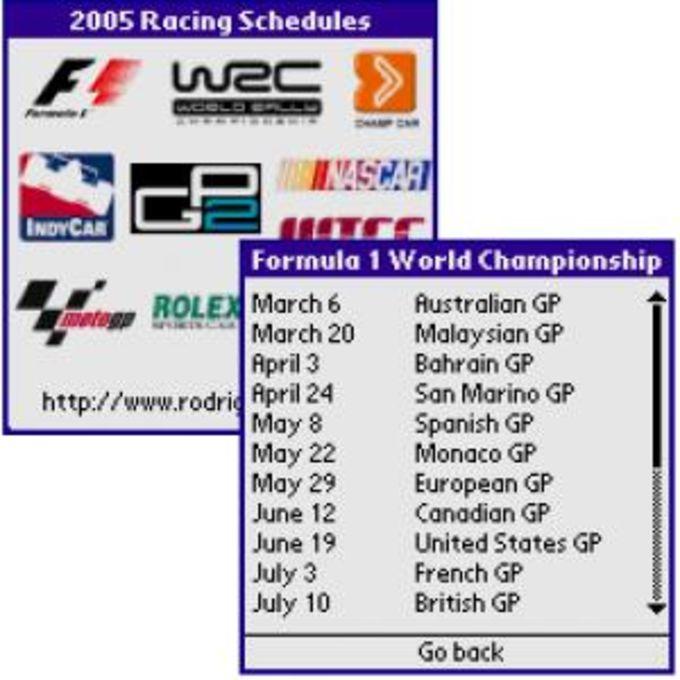 2007 Racing Schedules