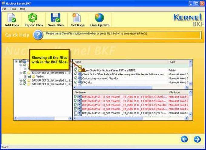 Nucleus Kernel BKF Repair Software