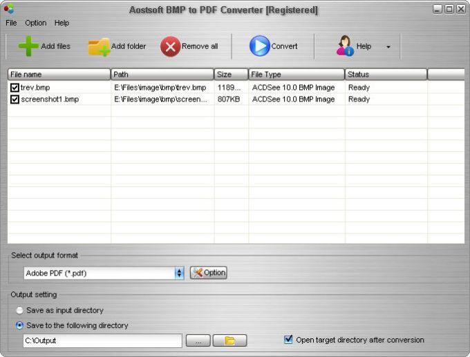 Aostsoft BMP to PDF Converter