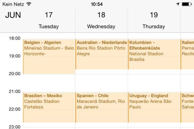 WM 2014 Spielplan für iPhone