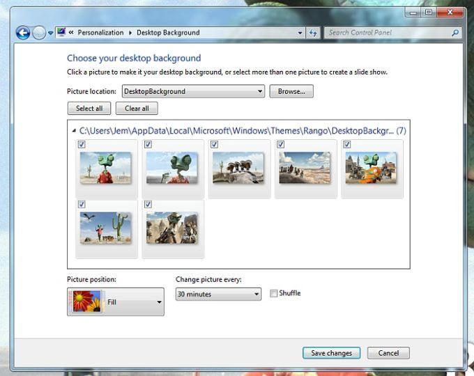 Motyw Windows 7 z filmu Rango