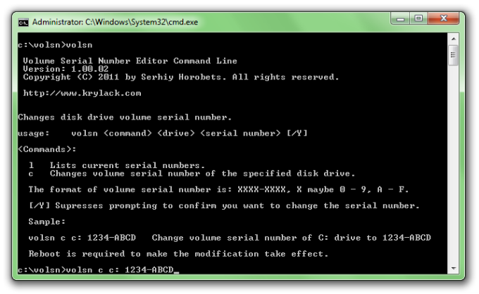 Volume Serial Number Editor Command Line