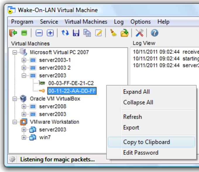 Wake-On-LAN Virtual Machine