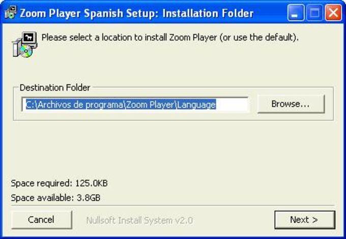 Zoom Player Spanish
