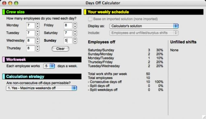 Days Off Calculator