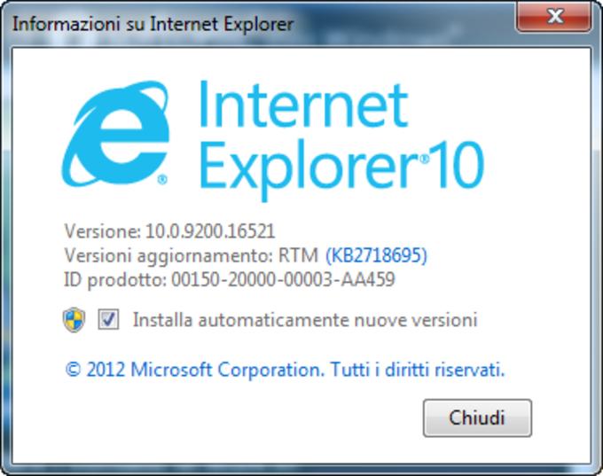 Internet Explorer 10 per Windows 7