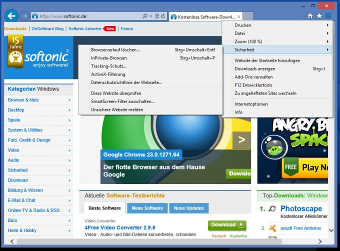 Internet Explorer 10 für Windows 7