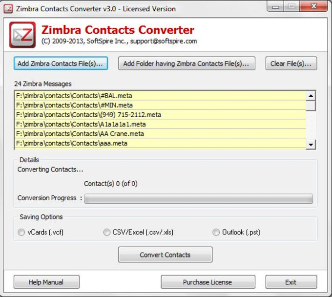 Zimbra Contacts Converter