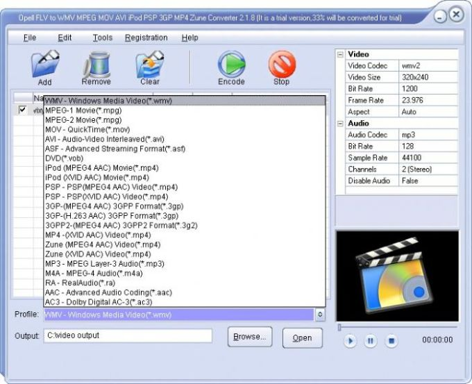 Opell Video to AVI MPEG MOV RM FLV iPod PSP 3GP Zune Converter