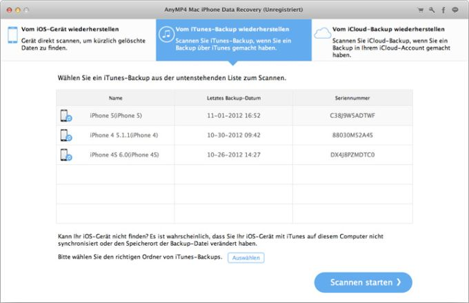 AnyMP4 Mac iPhone Data Recovery