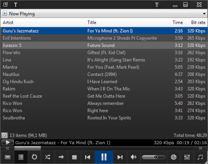 Xthree: Windows Media Player Skin