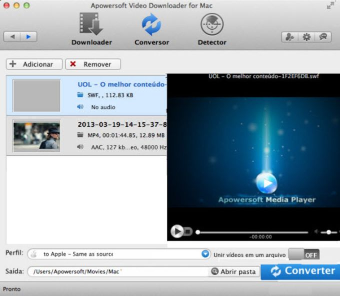 Downloader de Vídeo da Apowersoft para Mac