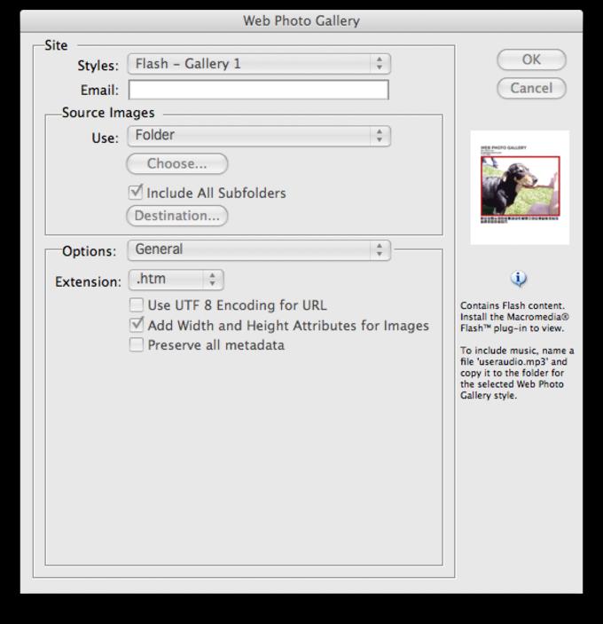Adobe Photoshop CS2 Flash Web Photo Gallery templates