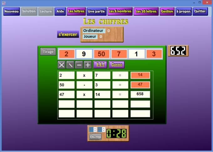 Le jeu des chiffres et des lettres