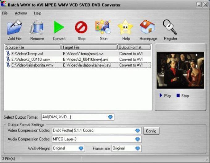 Batch WMV to AVI MPEG WMV VCD SVCD DVD Converter