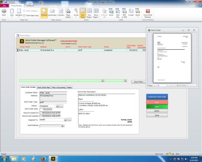 Work Order Manager Software