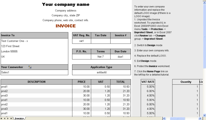 VAT Service Invoice Form