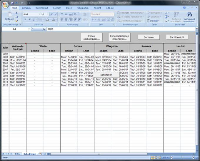 Jahreskalender für Excel