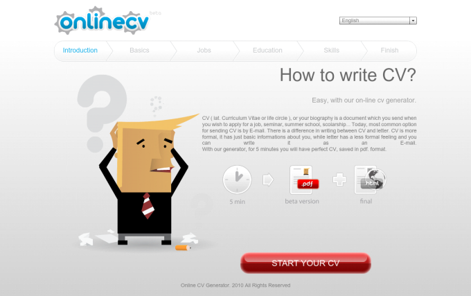 Online CV generator