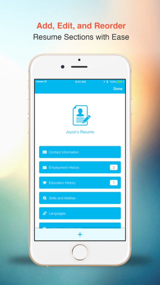 resume  free cv builder with designer templates for iphone