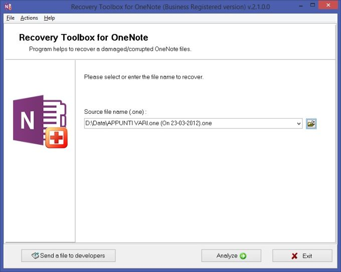 Recovery Toolbox for OneNote