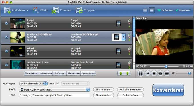 AnyMP4 iPad Video Konverter für Mac