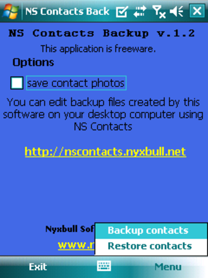 NS Contacts Backup