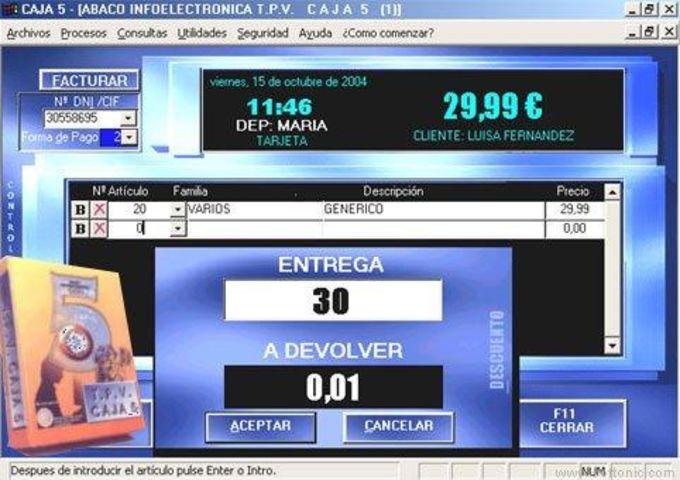 CAJA 5 TPV Comercios Tallas y Colores