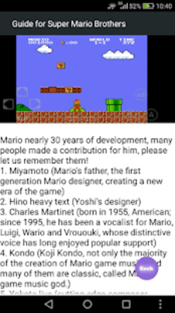 Guide for Super Mario Brothers