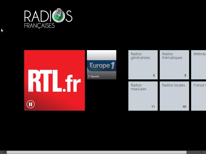 Interface principale de Radios Francaises