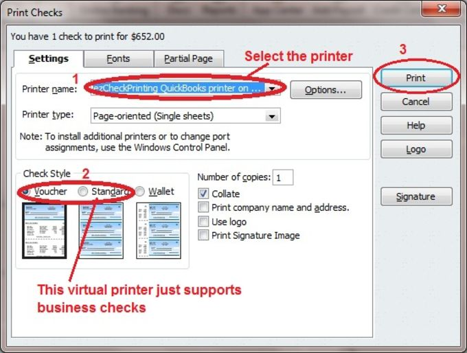 QuickBooks Check Virtual Printer