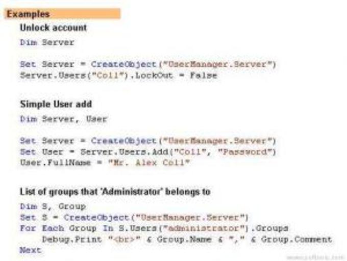 ActiveX UserManager