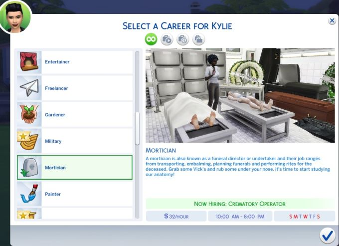 Mortician Career mod for The Sims 4