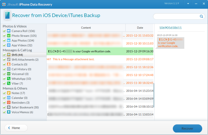 Jihosoft Iphone Data Recovery Screenshot