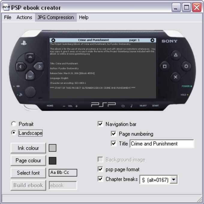 PSP ebook creator