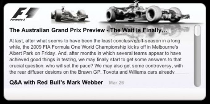 Formula1.com Widget