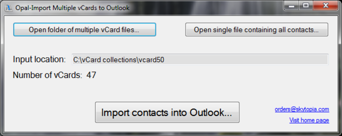 Opal-Import Multiple vCards to Outlook