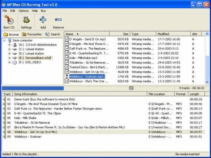 MP3Bee CD Burning Tool