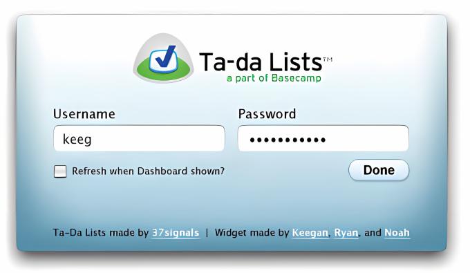 Ta-da Lists Widget